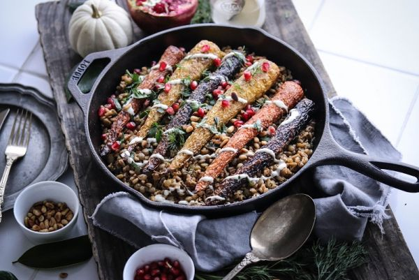 Roasted Carrots, Farro & Lentils with Cashew Sauce