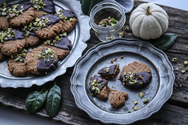Chocolate Covered Almond Pistachio Cookies