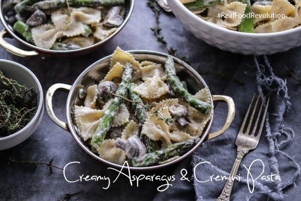 Creamy Asparagus Cremini Mushroom Pasta
