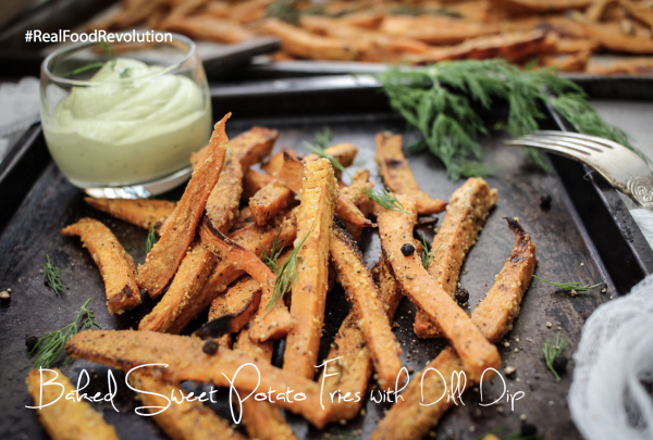 Baked Sweet Potato Fries with Dill Dip